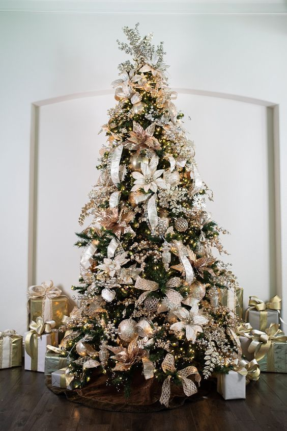 metallic christmas tree decor, glam smocked tree decor ideas, christmas tree decorating ideas, christmas tree inspiration, faux christmas tree decor inspiration, holiday decor, Red Soles and Red Wine, Jennifer Worman
