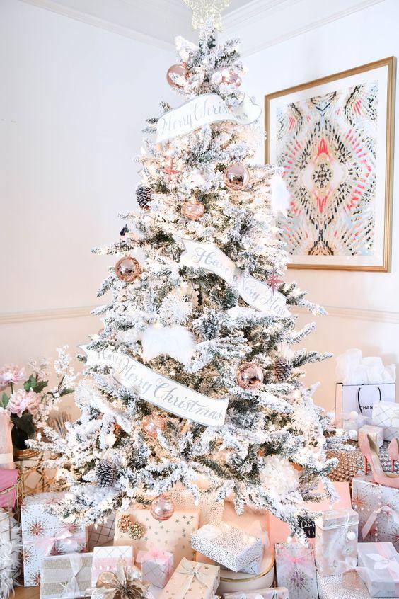 pink and white christmas tree decor, glam smocked tree decor ideas,christmas tree decorating ideas, christmas tree inspiration, faux christmas tree decor inspiration, holiday decor, Red Soles and Red Wine, Jennifer Worman