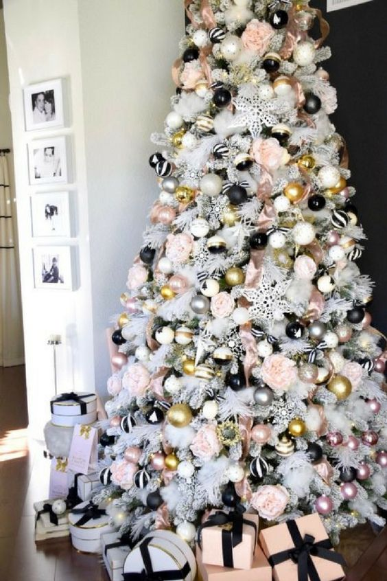 pink black white and gold christmas tree decor, glam smocked tree decor ideas, christmas tree decorating ideas, christmas tree inspiration, faux christmas tree decor inspiration, holiday decor, Red Soles and Red Wine, Jennifer Worman