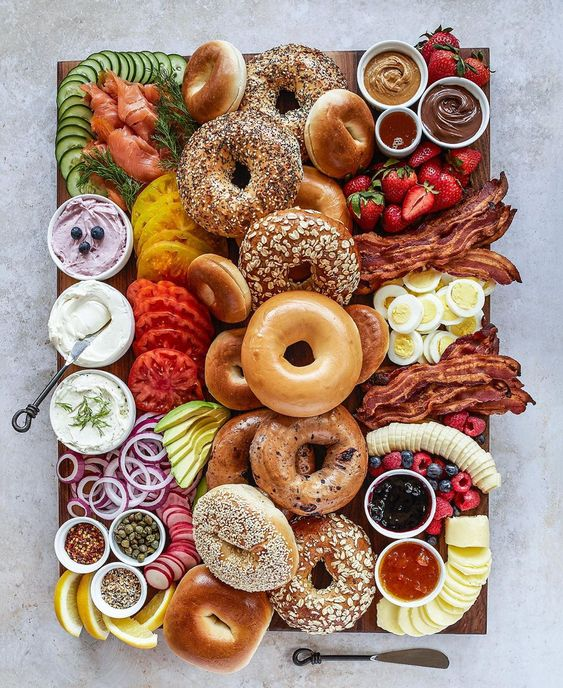 charcuterie boards, food boards, food board ideas, easy appetizers for entertaining, charcuterie board ideas, epic food boards, food display, breakfast board, brunch board, bagel board, breakfast ideas, easy brunch party food ideas