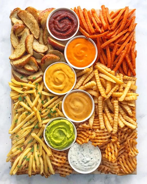 charcuterie boards, food boards, food board ideas, easy appetizers for entertaining, charcuterie board ideas, epic food boards, food display, French fries board, junk food board, fries board, French fry display, French fries and dips