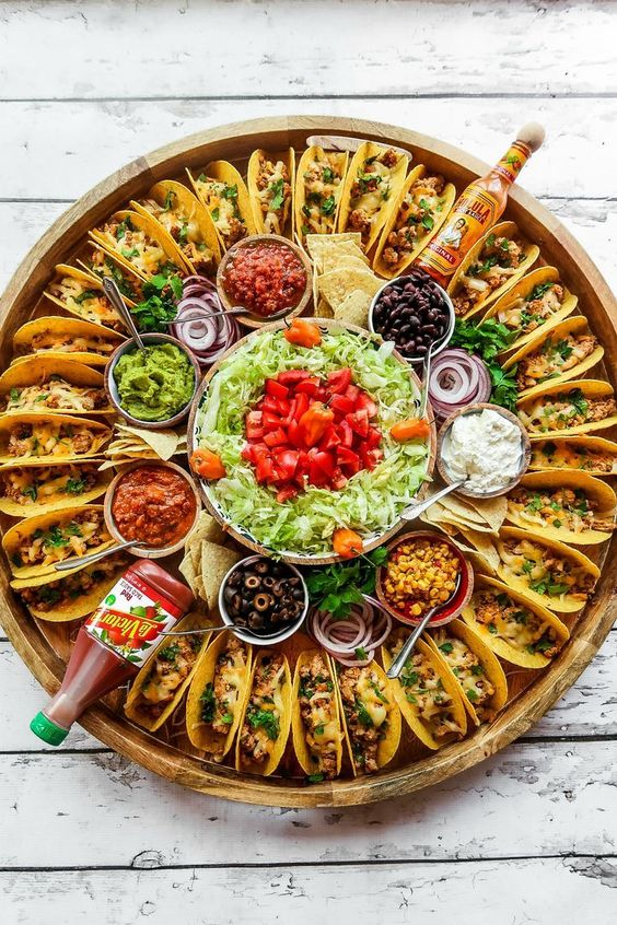 charcuterie boards, food boards, food board ideas, easy appetizers for entertaining, charcuterie board ideas, epic food boards, food display, taco board, Mexican board, taco night, taco Tuesday, taco food board, taco night for a crowd, easy way to serve tacos at a party