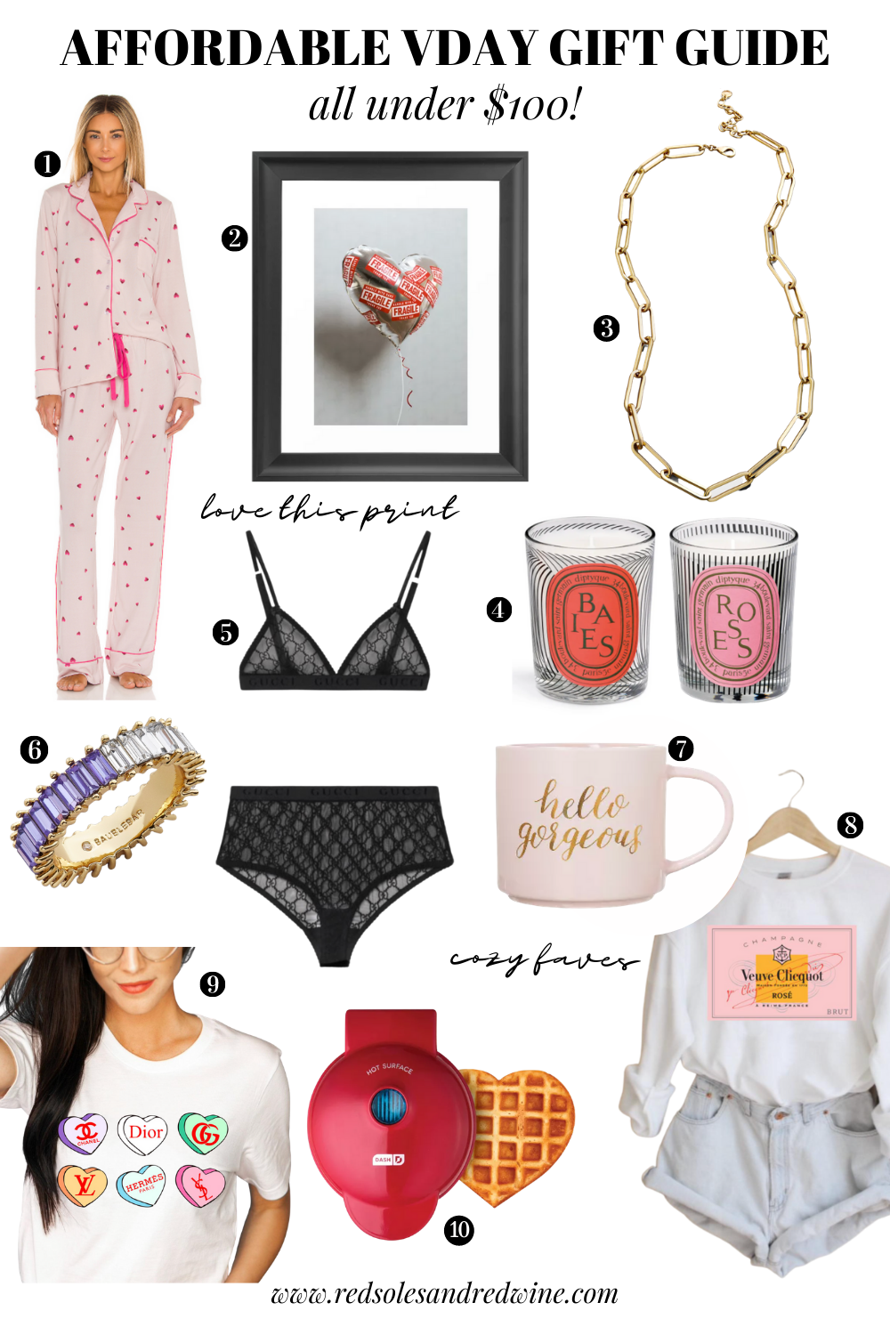 Valentine's Day Gift Guides, Vday gift guide, affordable vday gifts, gift ideas for girlfriends, valentine's day style ideas, Red Soles and Red Wine, Jennifer Worman