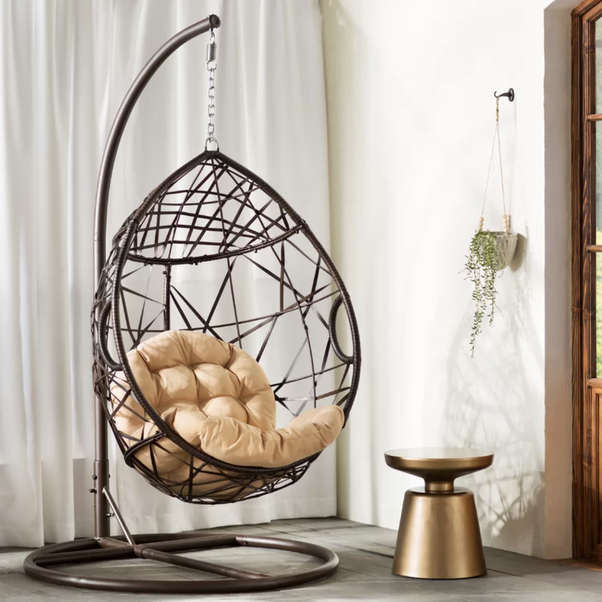 Anner Tear Drop Swing Chair with Stand, Target Southport Patio Egg Chair, Target Southport Patio Egg Chair dupes, affordable dupes for the Target Southport Patio Egg Chair,egg chair inspiration, egg chair home ideas, egg chairs, wicker egg chairs, hanging egg chairs, target dupes, target furniture dupes, target patio furniture, Red Soles and Red Wine