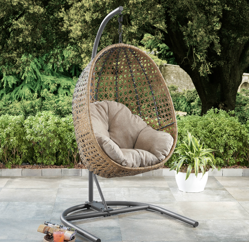 Better Homes & Gardens Lantis Patio Wicker Hanging Lounge Egg Style Swing Chair, Target Southport Patio Egg Chair, Target Southport Patio Egg Chair dupes, affordable dupes for the Target Southport Patio Egg Chair,egg chair inspiration, egg chair home ideas, egg chairs, wicker egg chairs, hanging egg chairs, target dupes, target furniture dupes, target patio furniture, Red Soles and Red Wine