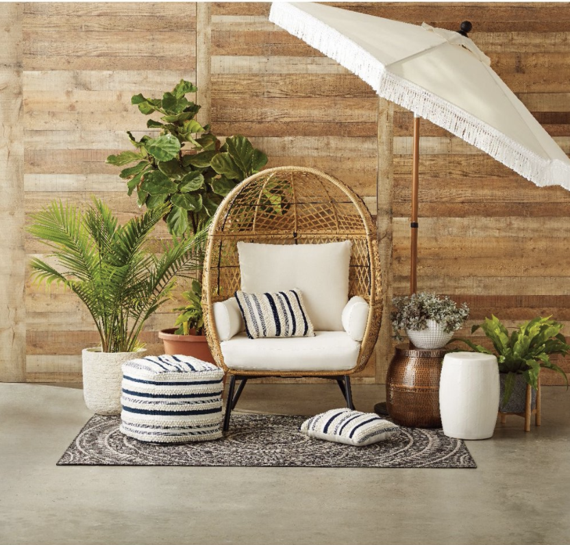 Better Homes and Gardens Ventura Boho Stationary Wicker Egg Chair, Target Southport Patio Egg Chair, Target Southport Patio Egg Chair dupes, affordable dupes for the Target Southport Patio Egg Chair,egg chair inspiration, egg chair home ideas, egg chairs, wicker egg chairs, hanging egg chairs, target dupes, target furniture dupes, target patio furniture, Red Soles and Red Wine