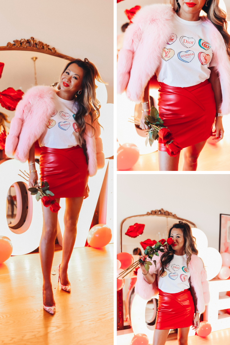 Casual Valentine's Day Style Inspiration. Valentine's Day style, Valentine's Day outfit ideas, valentines day t-shirt, Vday t-shirt, galentines tshirt, conversation hearts t-shirt, red and pink outfit, red and pink style ideas, cute vday outfit, date night outfit ideas, womens fashion, womens outfit ideas, Valentine's Day style guide, casual galentines day outfit, Red Soles and Red Wine, Jennifer Worman