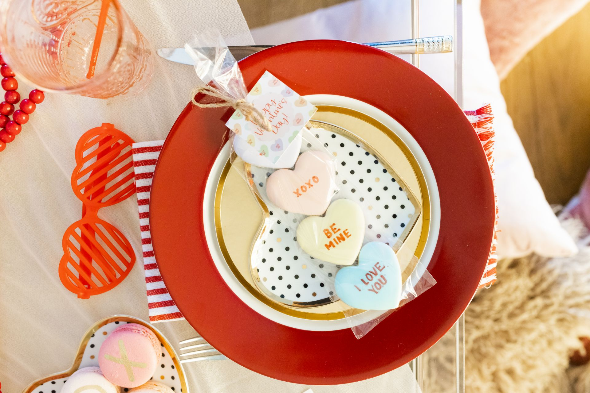 heart place setting, conversation hearts table setting, red and pink table setting, valentine's day table setting, galentine's table setting, red and pink party, intimate table setting ideas, girls night table setting, hearts table settings, sweets table decor ideas, pink and red party theme, girly party theme decor, love party theme decor, valentines day party ideas, valentines day party ideas for adults, Red Soles and Red Wine