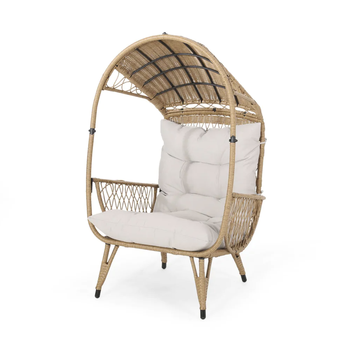 Malia Outdoor Cushioned Wicker Basket Chair by Christopher Knight Home - Light Brown + Beige Cushion, Target Southport Patio Egg Chair, Target Southport Patio Egg Chair dupes, affordable dupes for the Target Southport Patio Egg Chair,egg chair inspiration, egg chair home ideas, egg chairs, wicker egg chairs, hanging egg chairs, target dupes, target furniture dupes, target patio furniture, Red Soles and Red Wine