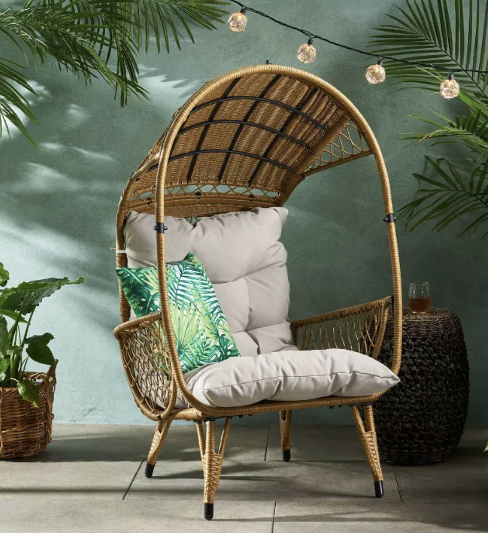 Malia Wicker Standing Basket Chair - Christopher Knight Home, Target Southport Patio Egg Chair, Target Southport Patio Egg Chair dupes, affordable dupes for the Target Southport Patio Egg Chair,egg chair inspiration, egg chair home ideas, egg chairs, wicker egg chairs, hanging egg chairs, target dupes, target furniture dupes, target patio furniture, Red Soles and Red Wine