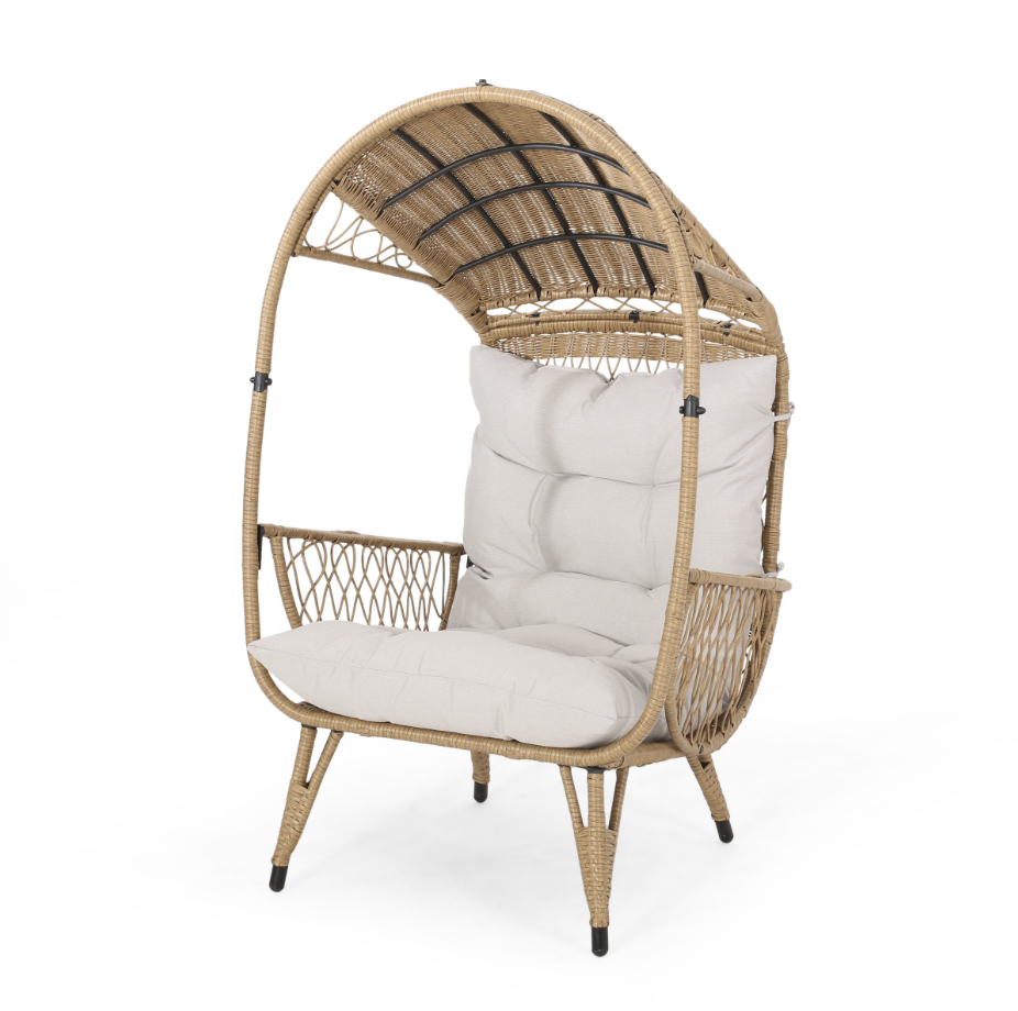 Maurice Outdoor Wicker Standing Basket Chair with Cushion, Light Brown, Beige, Target Southport Patio Egg Chair, Target Southport Patio Egg Chair dupes, affordable dupes for the Target Southport Patio Egg Chair, egg chair inspiration, egg chair home ideas, egg chairs, wicker egg chairs, hanging egg chairs, target dupes, target furniture dupes, target patio furniture, Red Soles and Red Wine