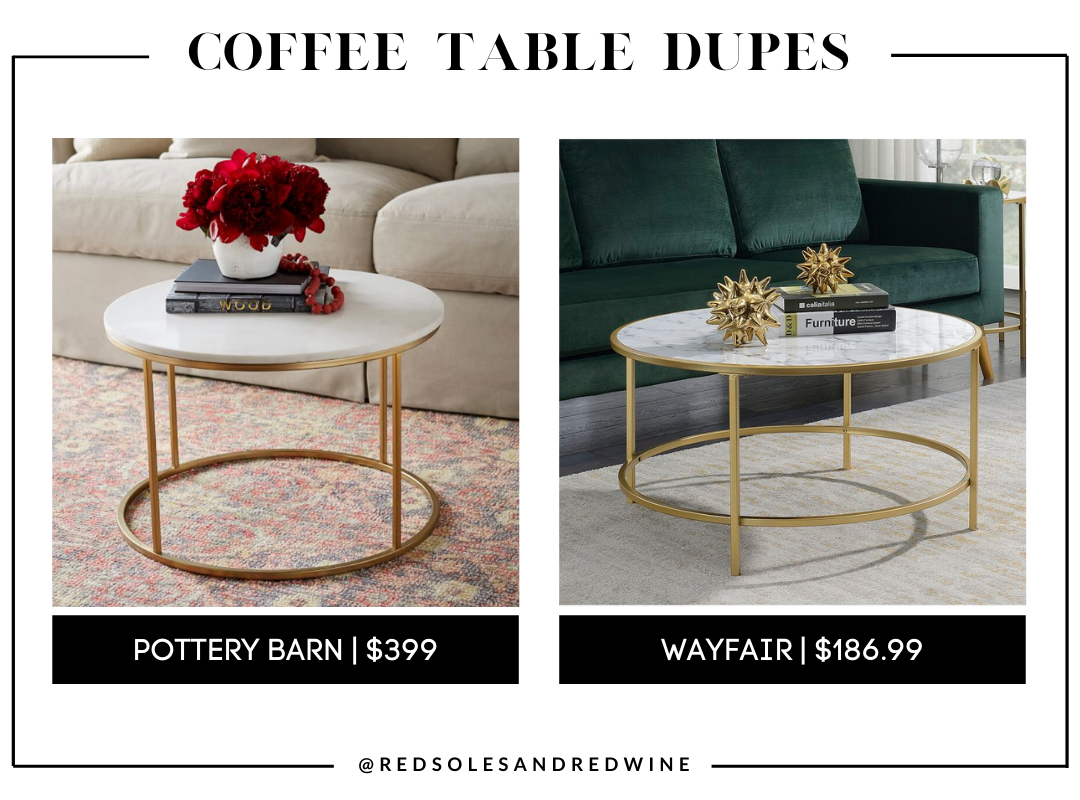 Pottery Barn Delaney 25 Round Marble Coffee Table dupe, marble coffee table, pottery barn coffee table dupe, look for less, coffee table under $200, interior finds, living room, cute coffee tables, Red Soles and Red Wine, Jennifer Worman