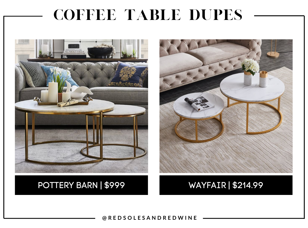 Pottery Barn Delaney Round Marble Nesting Coffee Tables dupe, marble coffee table, pottery barn coffee table dupe, look for less, coffee table under $200, interior finds, living room, cute coffee tables, Red Soles and Red Wine, Jennifer Worman