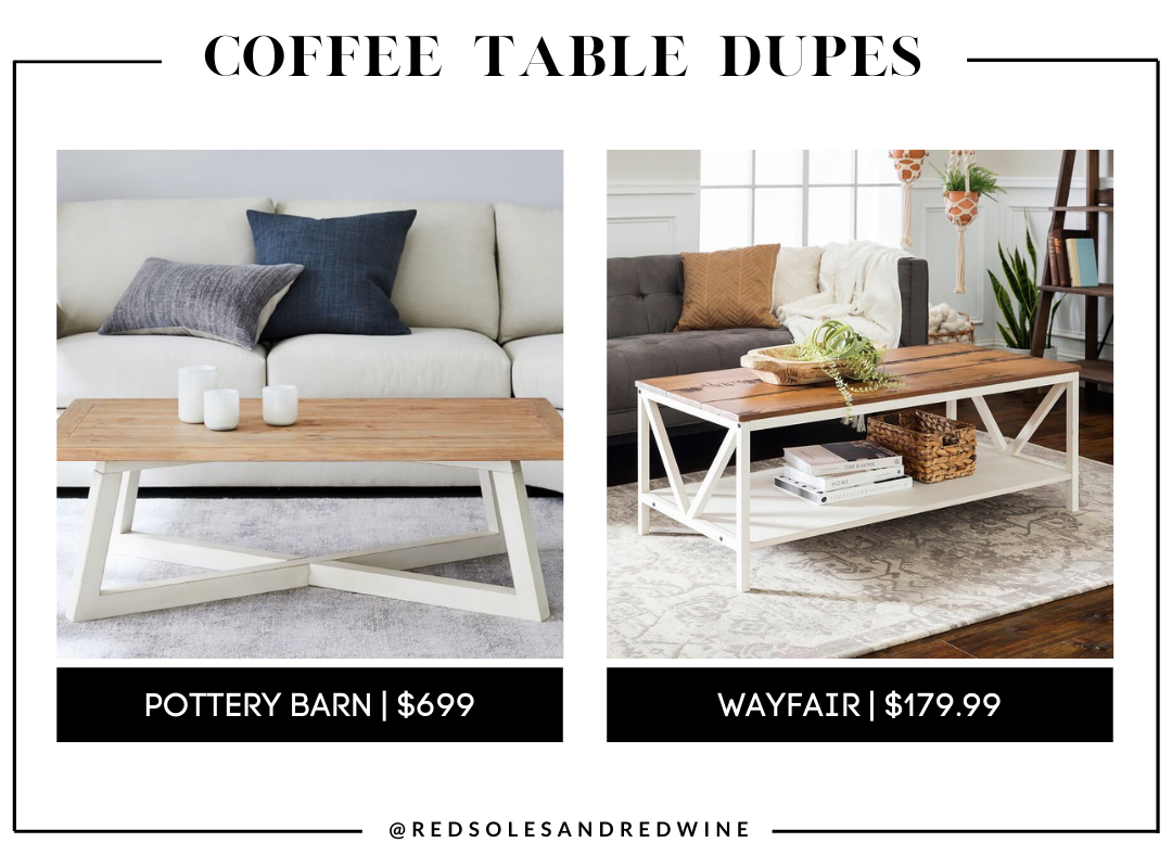 Pottery Barn St. Augustine 52 Rectangular Coffee Table dupe, farmhouse coffee table, pottery barn coffee table dupe, look for less, coffee table under $200, interior finds, living room, cute coffee tables, Red Soles and Red Wine, Jennifer Worman
