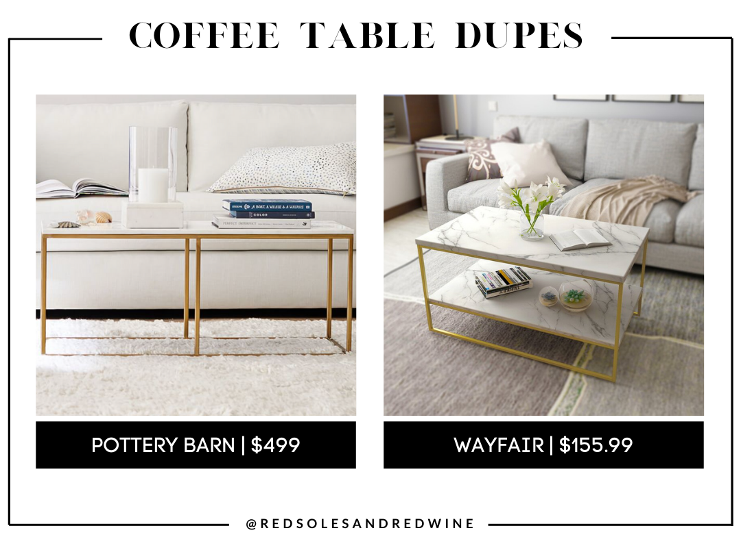 Pottery barn DELANEY 40.5 RECTANGULAR MARBLE COFFEE TABLE dupe, marble coffee table, pottery barn coffee table dupe, look for less, coffee table under $200, interior finds, living room, cute coffee tables, Red Soles and Red Wine, Jennifer Worman