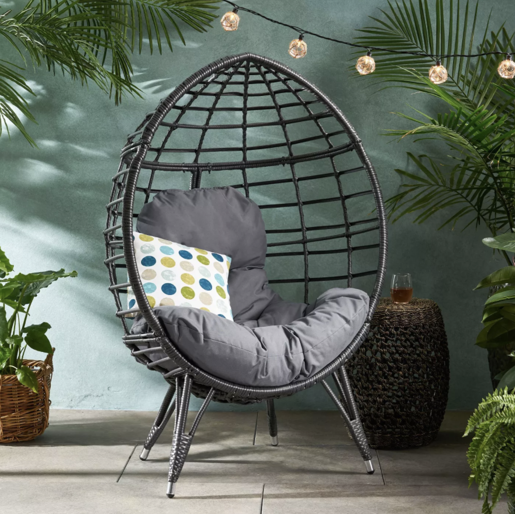 Santino Wicker Teardrop Chair Gray/Dark Gray - Christopher Knight Home, Target Southport Patio Egg Chair, Target Southport Patio Egg Chair dupes, affordable dupes for the Target Southport Patio Egg Chair, egg chair inspiration, egg chair home ideas, egg chairs, wicker egg chairs, hanging egg chairs, target dupes, target furniture dupes, target patio furniture, Red Soles and Red Wine