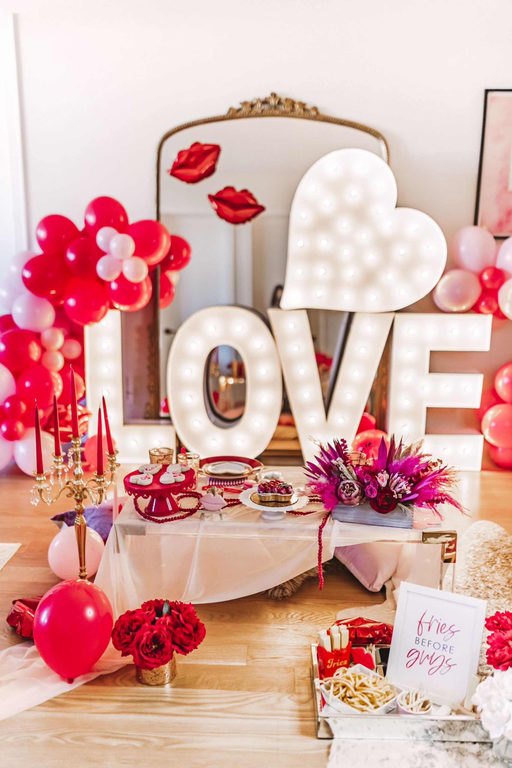 glam Valentine's and Galentine's party, Glam Party Decor Ideas, Galentine's party decor, Valentine's day party decor, girls night party decor ideas, Vday party decorations, pink and red party theme, girly party theme decor, love party theme decor, valentines day party ideas, valentines day party ideas for adults,  light up marquee letters for parties, pink and red balloon ideas, pink and red floral ideas, intimate party table setting ideas, Red Soles and Red Wine
