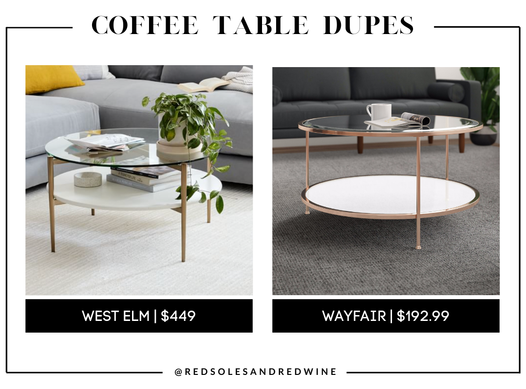 West Elm Mid-Century Art Display Round Coffee Table dupe, marble coffee table, west elm coffee table dupe, look for less, coffee table under $200, interior finds, living room, cute coffee tables, Red Soles and Red Wine, Jennifer Worman