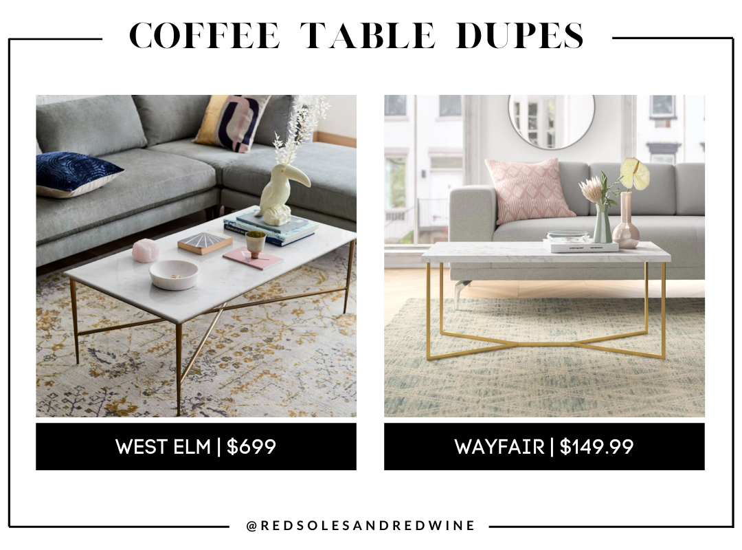 West Elm Neve Marble Coffee Table dupe, marble coffee table, west elm coffee table dupe, look for less, coffee table under $200, interior finds, living room, cute coffee tables, Red Soles and Red Wine, Jennifer Worman