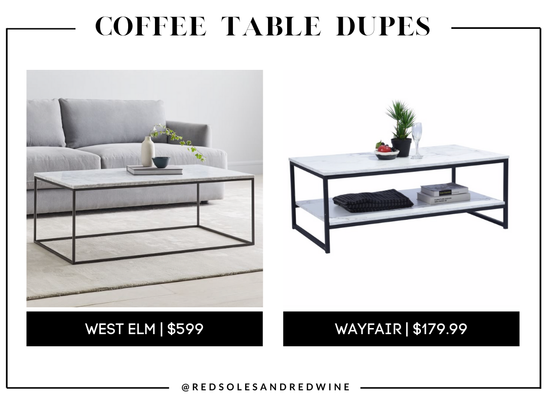 West Elm Streamline Coffee Table - Marble dupe, marble coffee table, west elm coffee table dupe, look for less, coffee table under $200, interior finds, living room, cute coffee tables, Red Soles and Red Wine, Jennifer Worman