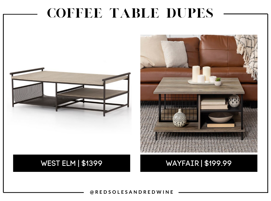 West Elm Teak & Aluminum Outdoor Coffee Table, industrial coffee table, west elm coffee table dupe, look for less, coffee table under $200, interior finds, living room, cute coffee tables, Red Soles and Red Wine, Jennifer Worman