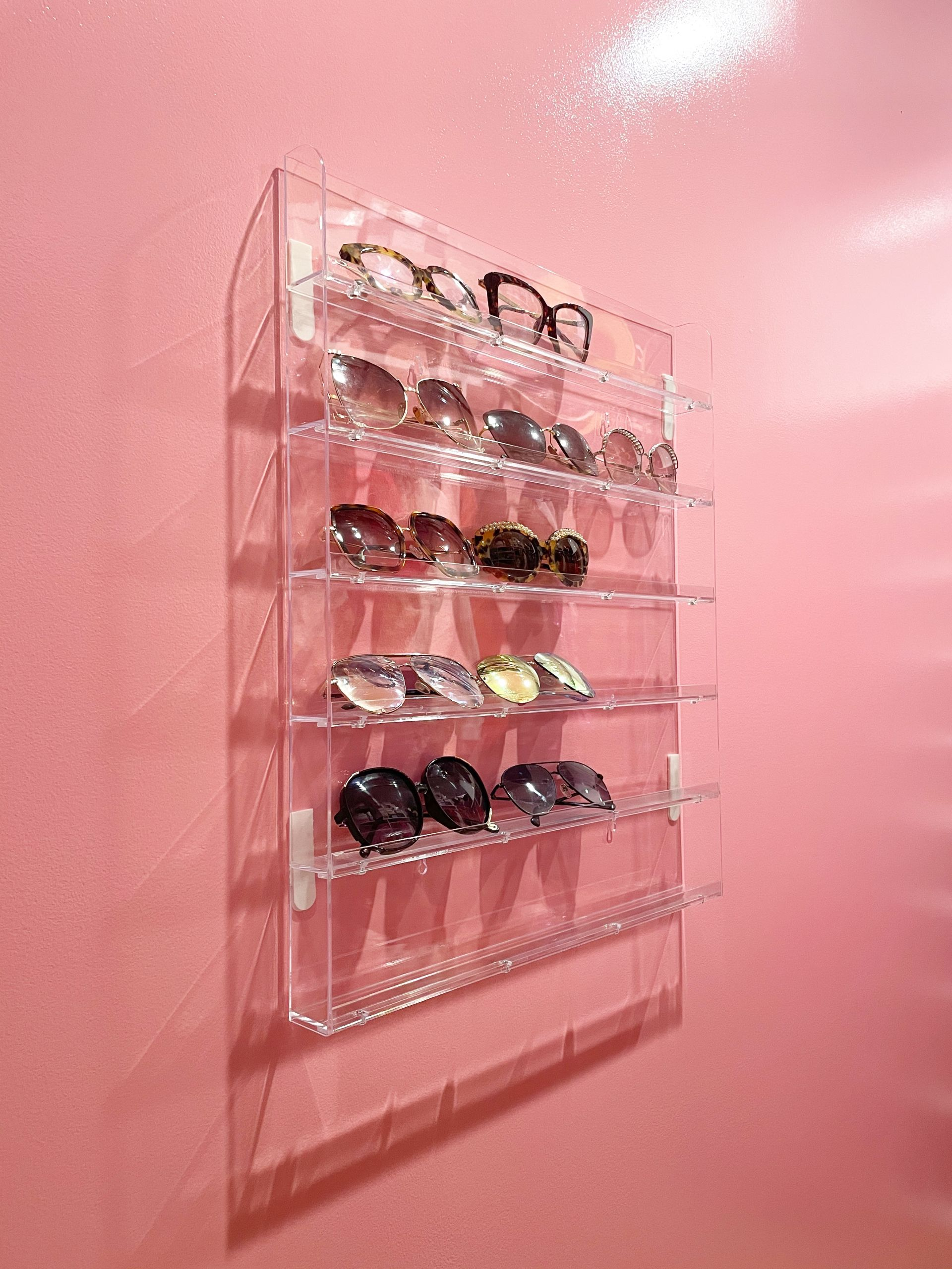 How to Store Your Sunglasses, sunglasses storage, clear sunglasses storage, clear sunglasses organization, how to organize sunglasses, sunglasses organization, accessories organization, closet organization ideas, accessories storage ideas, affordable accessories storage, pink closet, closet goals, girly closet, Jennifer Worman, Red Soles and Red Wine, pink wall, pink accent wall