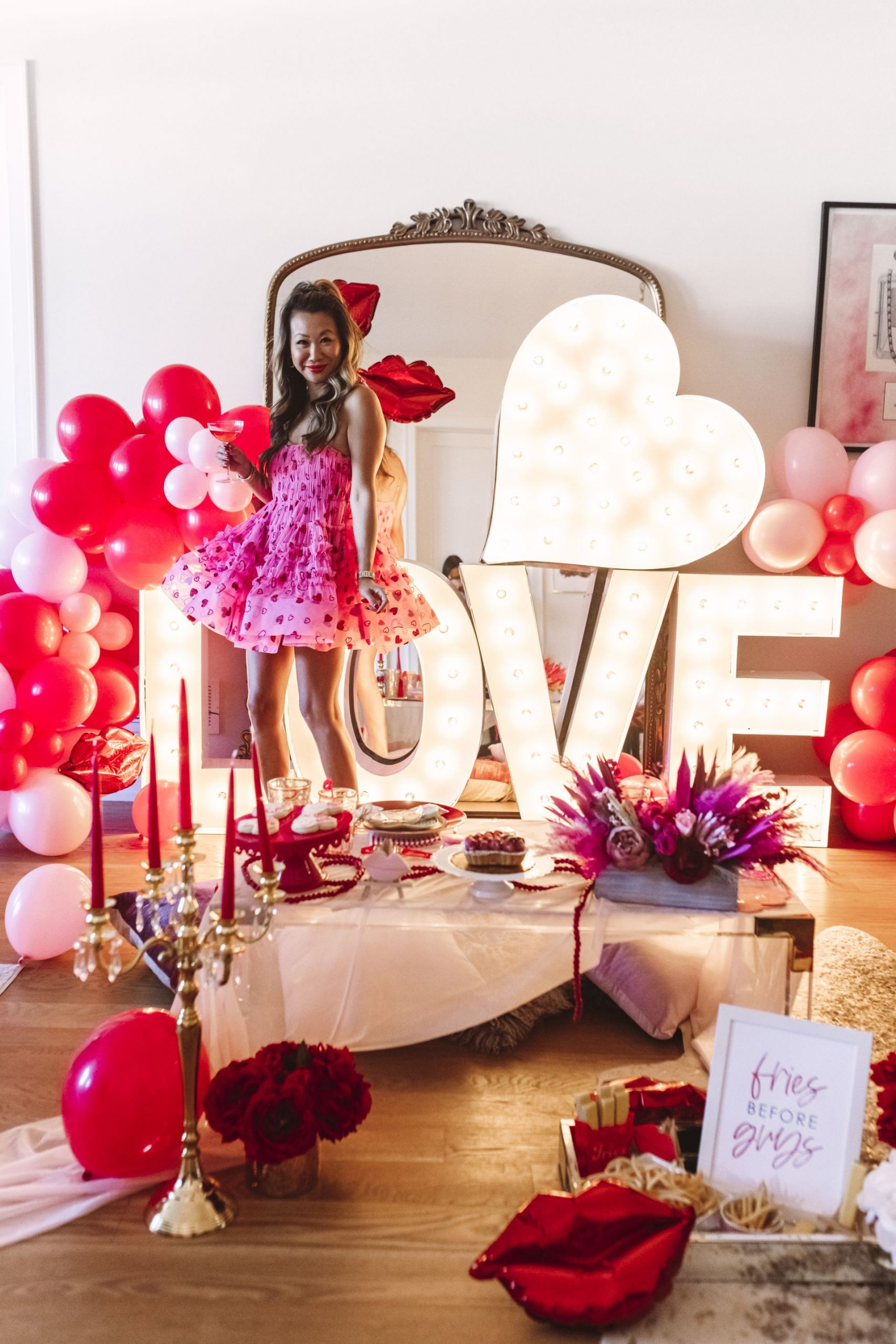 glam Valentine's and Galentine's party, Glam Party Decor Ideas, Galentine's party decor, Valentine's day party decor, girls night party decor ideas, Vday party decorations, pink and red party theme, girly party theme decor, love party theme decor, valentines day party ideas, valentines day party ideas for adults,  light up marquee letters for parties, Red Soles and Red Wine, Jennifer Worman
