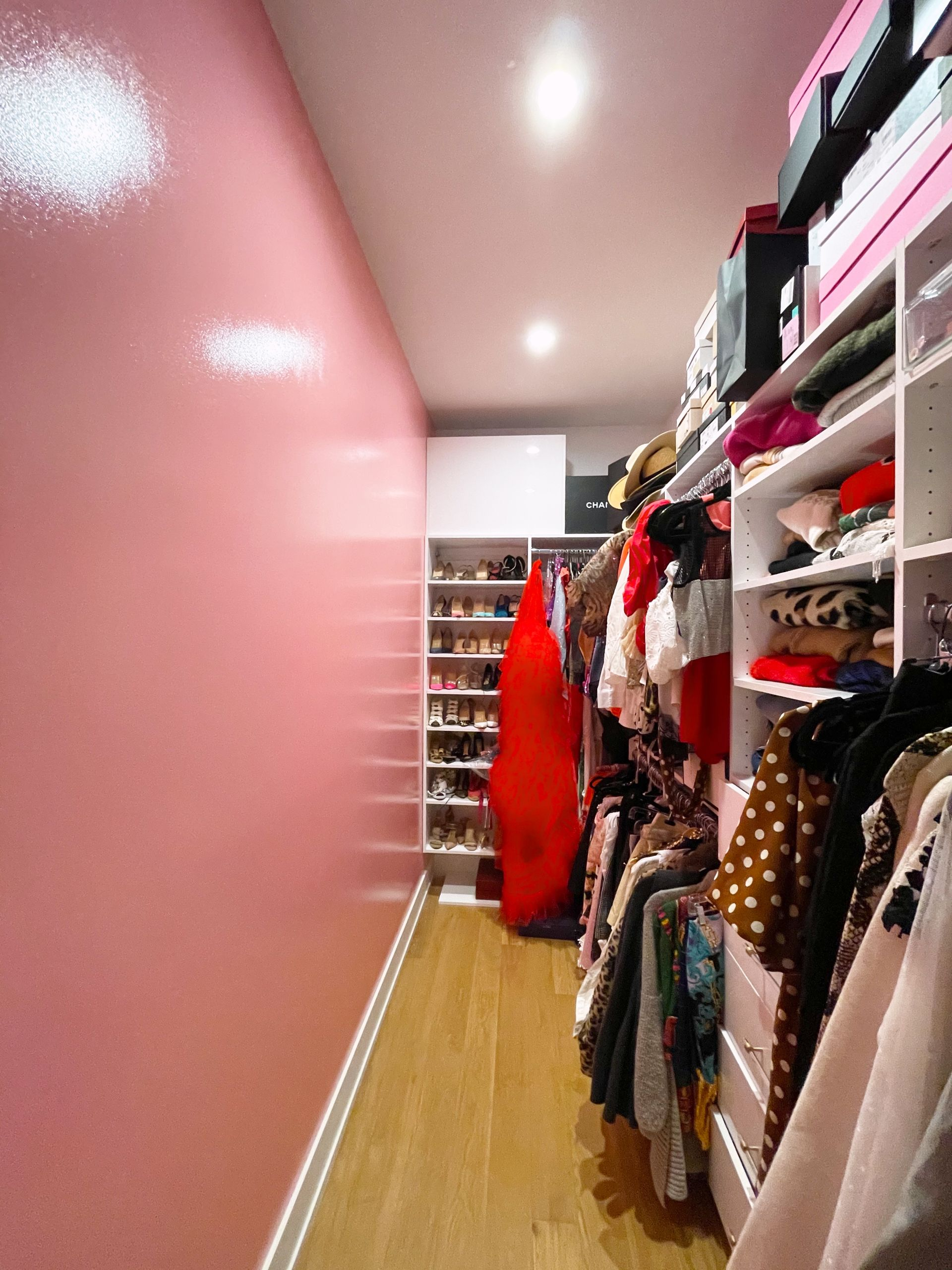 Pink accent wall, best pink color for bedrooms, Benjamin Moore Full Bloom Pink, Best Pink wall spaces, High Gloss Pink Walls, Perfect Pink Paint for Homes, How to glam up your closet, Red Soles and Red Wine Closet, Jennifer Worman's Home, Chicago Closets
