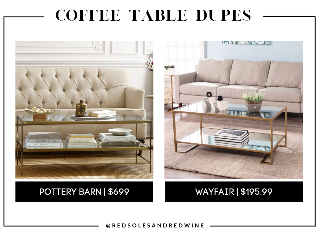 pottery barn Leona 44 Glass Coffee Table dupes, gold and glass coffee table, pottery barn coffee table dupe, look for less, coffee table under $200, interior finds, living room, cute coffee tables, Red Soles and Red Wine, Jennifer Worman