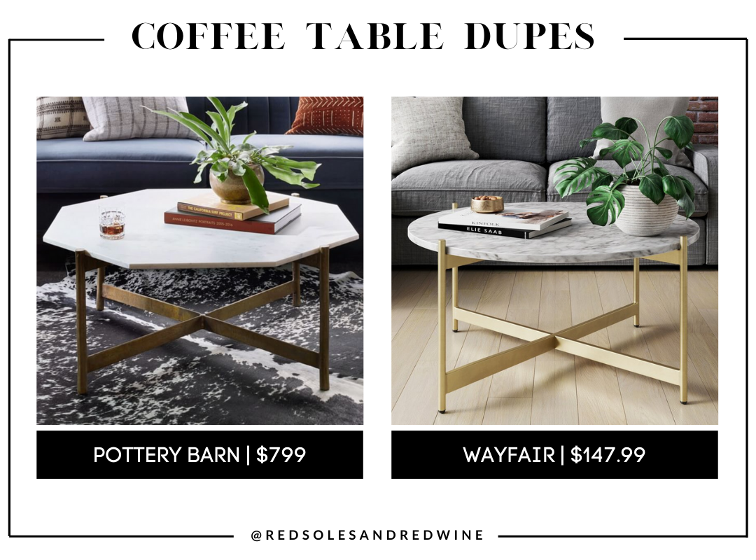 pottery barn Montague 40 Geometric Marble Coffee Table dupe, marble coffee table, pottery barn coffee table dupe, look for less, coffee table under $200, interior finds, living room, cute coffee tables, Red Soles and Red Wine, Jennifer Worman