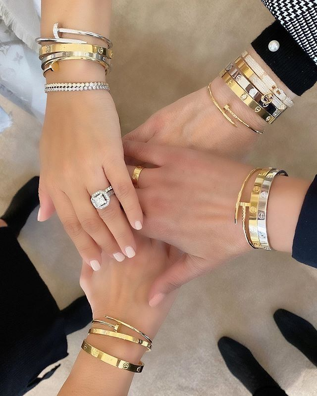 cartier love bracelet dupes, cartier love ring dupes, cartier love bracelet and ring stacks, affordable dupes for cartier jewelry, cartier accessories dupes, cartier dupes, designer dupes, cartier love bracelet stack inspiration, cartier love ring stack, wrist stack, arm stack, arm candy, bracelet stack inspiration, gold bracelet stacks, friendship bracelets, friendship wrist stacks