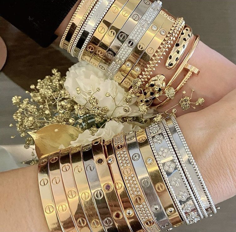 cartier love bracelet inspiration, ultimate Cartier love bracelet stack, cartier love bracelet dupes, cartier love ring dupes, cartier love bracelet and ring stacks, affordable dupes for cartier jewelry, cartier accessories dupes, cartier dupes, designer dupes