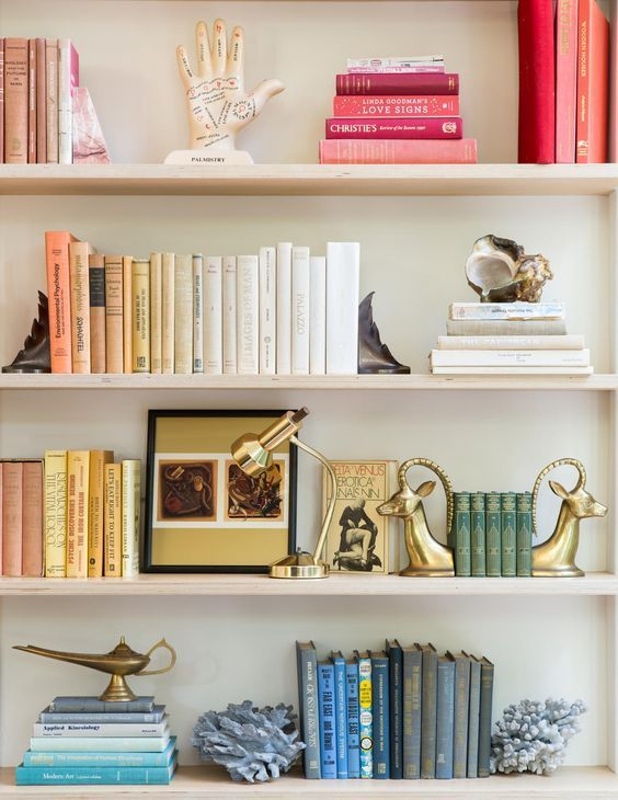 rainbow bookshelf styling, colorful shelf styling ideas, bookcase styling, bookshelf styling, shelf styling, shelfie, shelf styling ideas, bookcase styling ideas, shelf style ideas, interior design ideas, interior design inspiration
