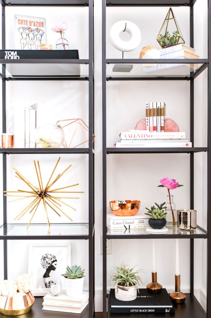glam shelf styling inspiration, black and white bookshelf styling, modern shelf styling, black bookcase styling, bookcase styling, bookshelf styling, shelf styling, shelfie, shelf styling ideas, bookcase styling ideas, shelf style ideas, interior design ideas, interior design inspiration