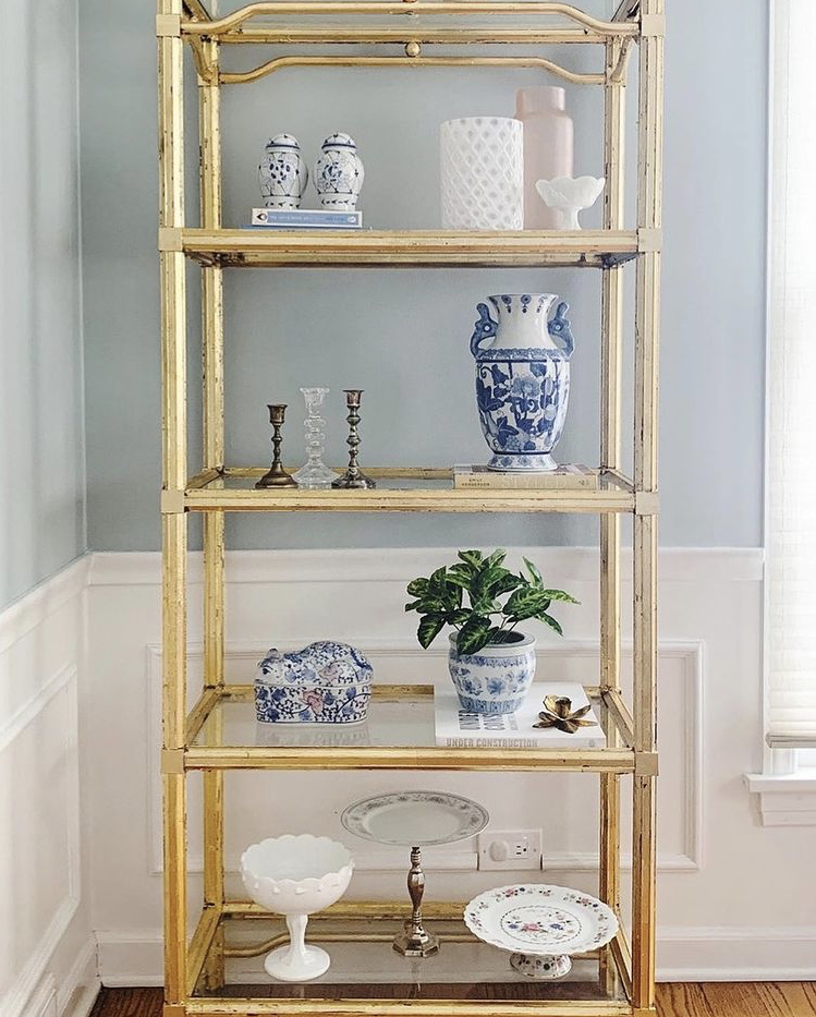 gold bookcase styling, traditional shelf styling, bookcase styling, bookshelf styling, shelf styling, shelfie, shelf styling ideas, bookcase styling ideas, shelf style ideas, interior design ideas, interior design inspiration