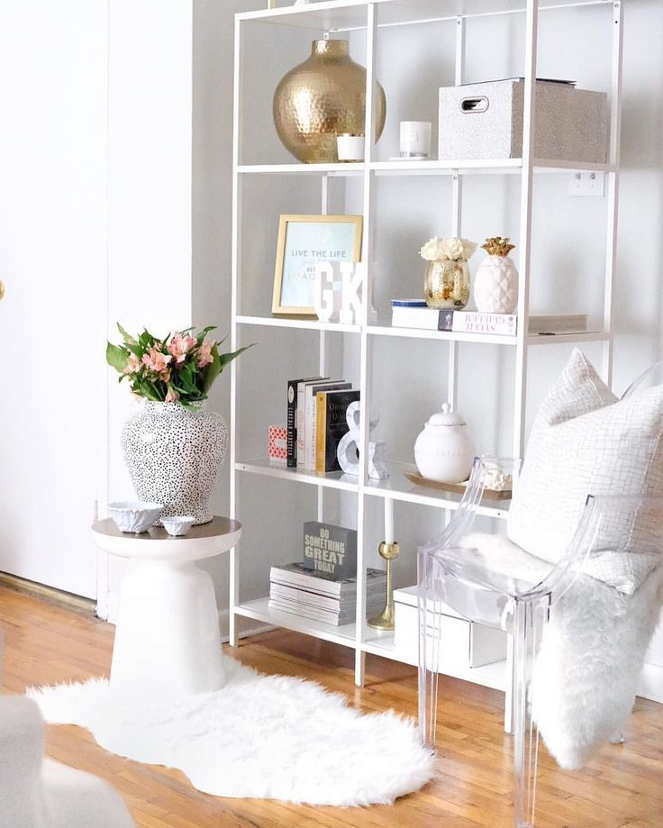 white ikea bookcase styling ideas, white and gold shelf styling, bookcase styling, bookshelf styling, shelf styling, shelfie, shelf styling ideas, bookcase styling ideas, shelf style ideas, interior design ideas, interior design inspiration