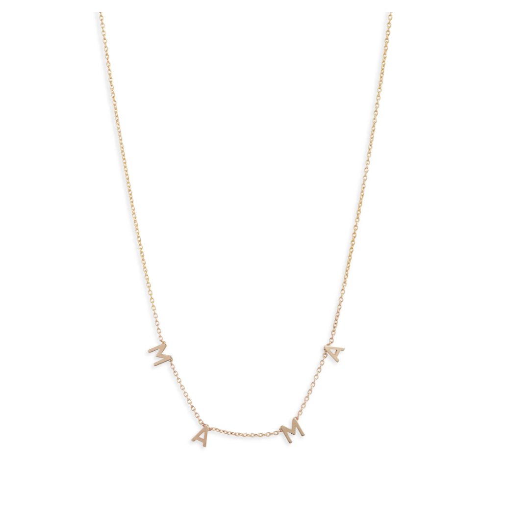 Set & StonesCheyenne Mama Necklace, gold mama letter necklace, mama necklace, Mother's Day gift ideas, Mother's Day gift guide, gifts for mom, jewelry for moms, hoop earrings for moms, gifts for the stylish mama, dainty necklace for layering, layering gold mom necklace