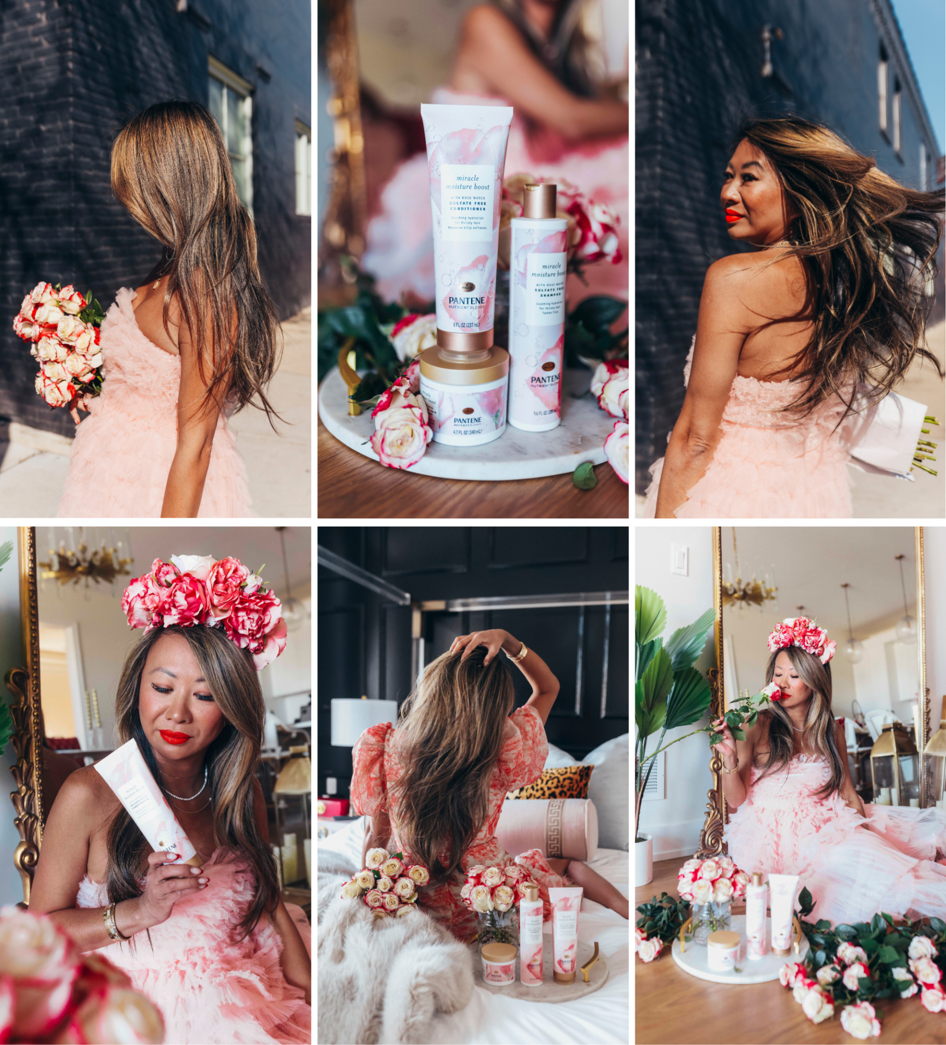 pantene rose hair inspiration, Pantene rose collection, hair routine, hair care tips, beauty routine, beauty blogger, self care, rose hair inspiration, rose hair photography, rose hair aesthetic, hair photography ideas, long hair inspiration, Red Soles and Red Wine, Jennifer Worman