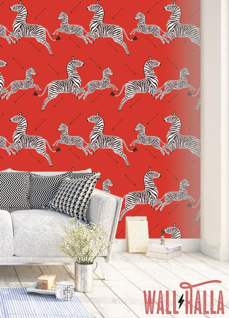 Red Zebra Wallpaper, Peel and Stick Self Adhesive Wallpaper, red wallpaper, zebra wallpaper, bold wallpaper, statement wallpaper