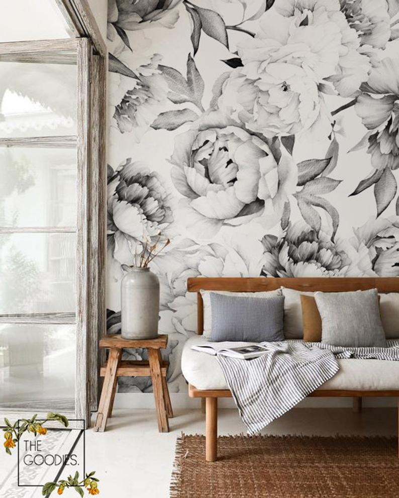 TheGoodiesWallpapersSoft Peony Wallpaper, floral wallpaper, black and white floral wallpaper, neutral wallpaper, entryway wallpaper, entryway wallpaper ideas