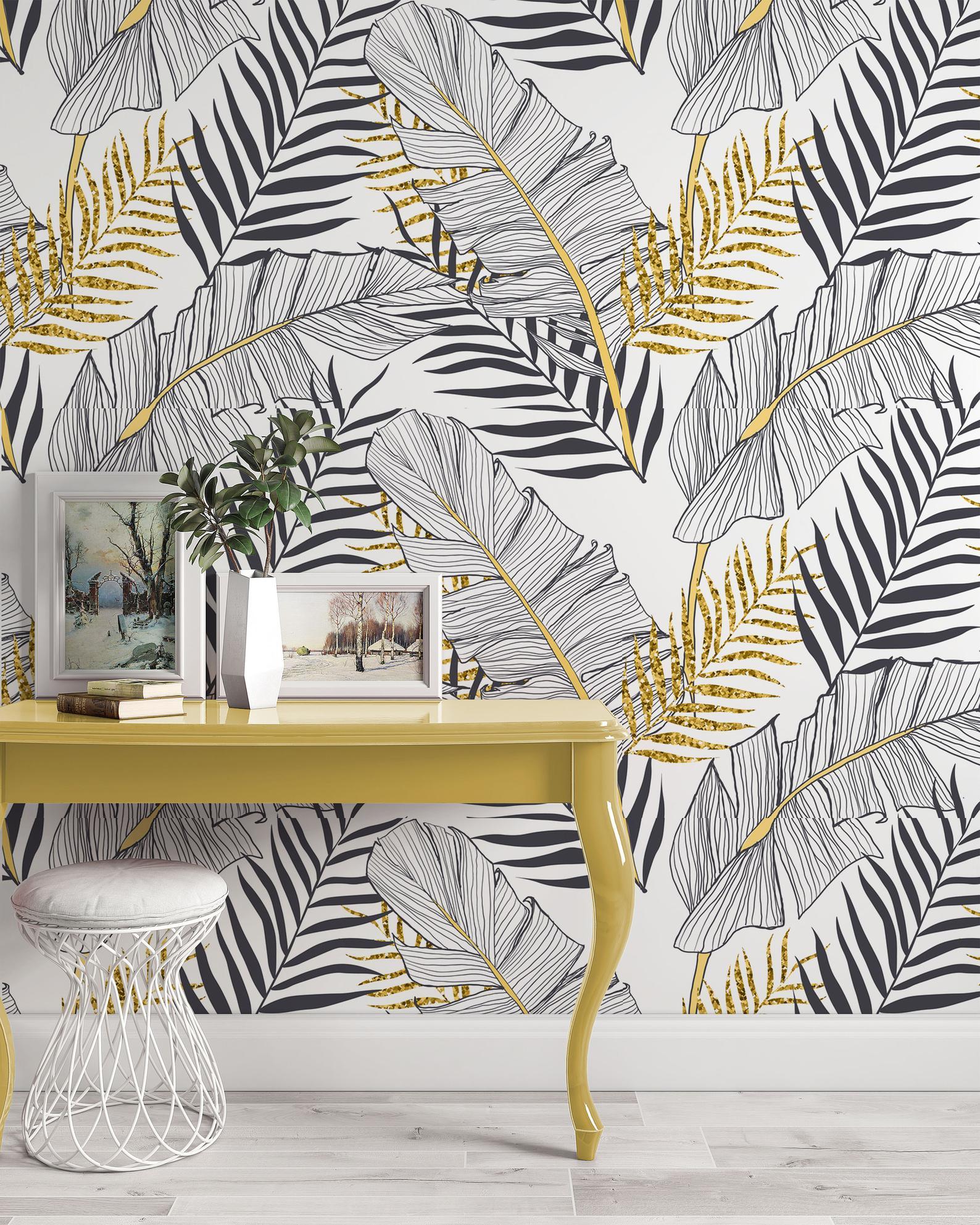 WallpaewBlack White Gold Look Exotic Tropical Leaves Wallpaper, black white and gold wallpaper, palm leaf wallpaper, neutral wallpaper, statement wallpapers, gold wallpaper, entryway wallpaper, entryway wallpaper ideas