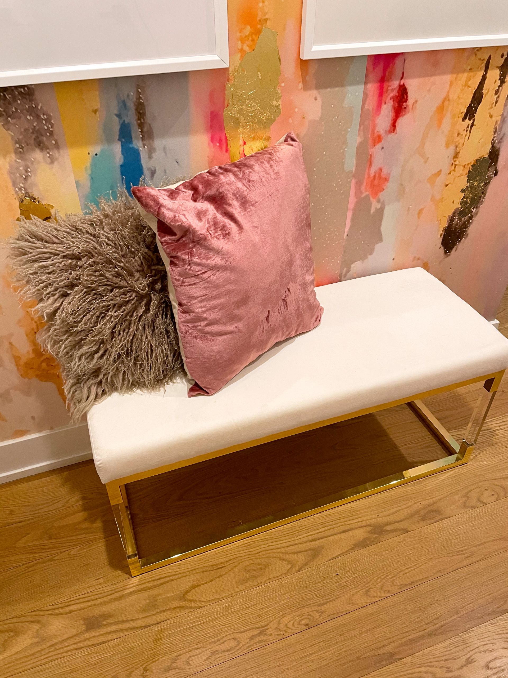 entrywaystyling,entryway decor, entryway inspiration, entrywaybench, how to style an entryway bench, gold foil wallpaper, peel and stick wallpaper, wallpaper inspiration, glam interior design, glam home design, girly home design, pink and gold entryway, pink and gold decor,VivianFerne Coronado Wall Mural, Entryway wallpaper inspiration, entryway wallpaper ideas, colorful entryway wallpaper