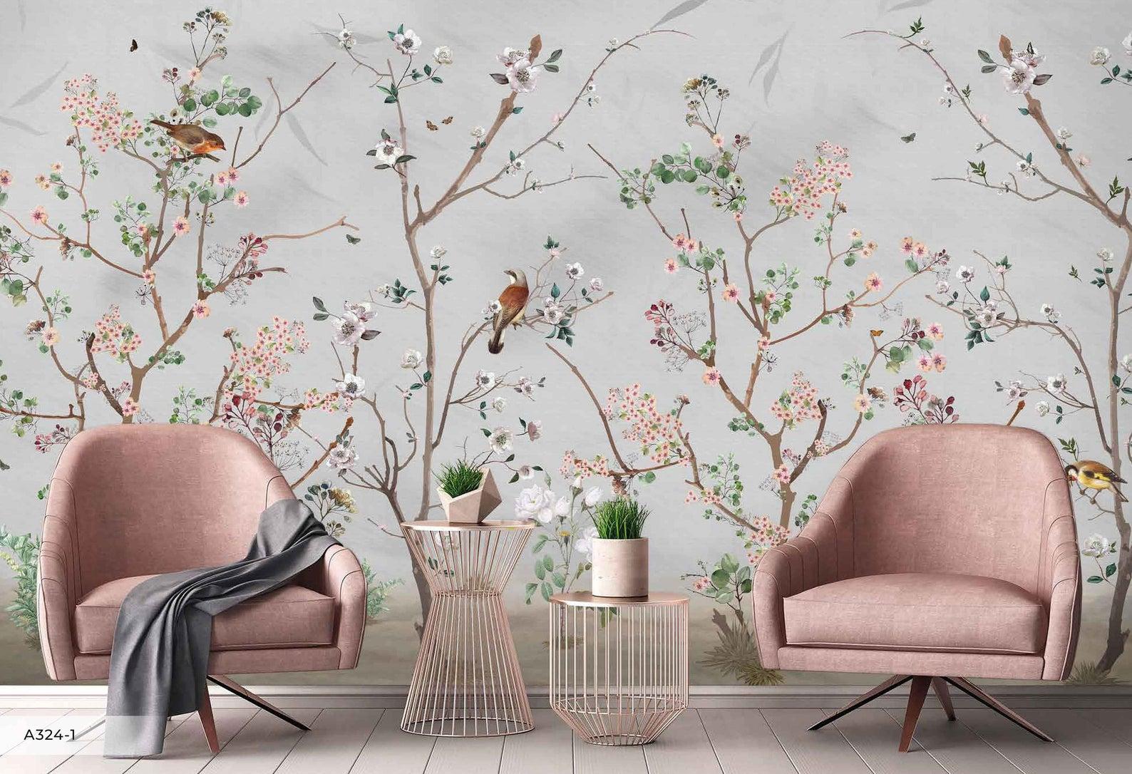 floral wallpaper, bird wallpaper, mural wallpaper, ornate wallpaper, entryway wallpaper, entryway wallpaper ideas
