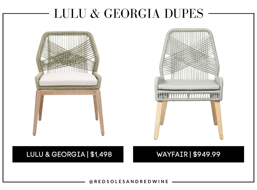 Lulu and Georgia London Indoor / Outdoor Dining Chair dupes, Lulu and Georgia dupes, designer dining chair dupes, affordable dining chairs, boho dining chairs, boho dining chair dupes, woven dining chairs, woven back dining chairs, sage green dining chairs