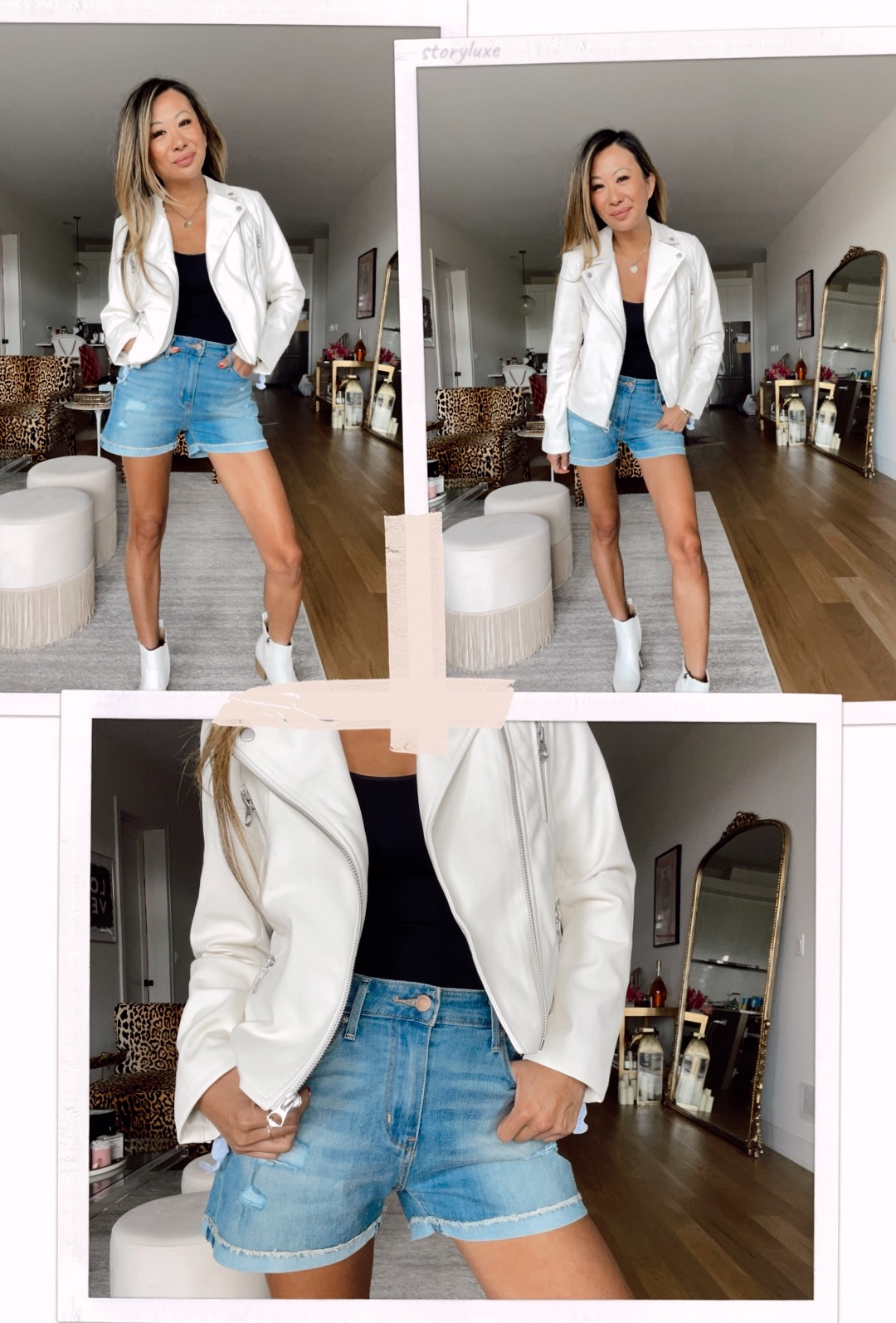 Scoop Women's Faux Leather Moto Jacket, walmat moto jacket, faux moto jacket outfit ideas, denim short outfit ideas, summer denim shorts outfit