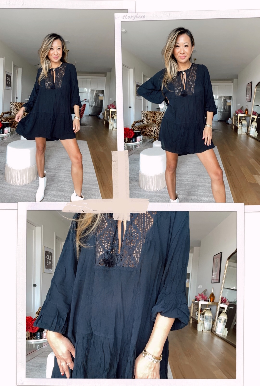 Scoop Women's Tunic Dress with Long Sleeves, black tunic dress, Walmart dress, walmart style, black tunic dress outfit ideas, how to style a black dress with white boots, white boots black dress