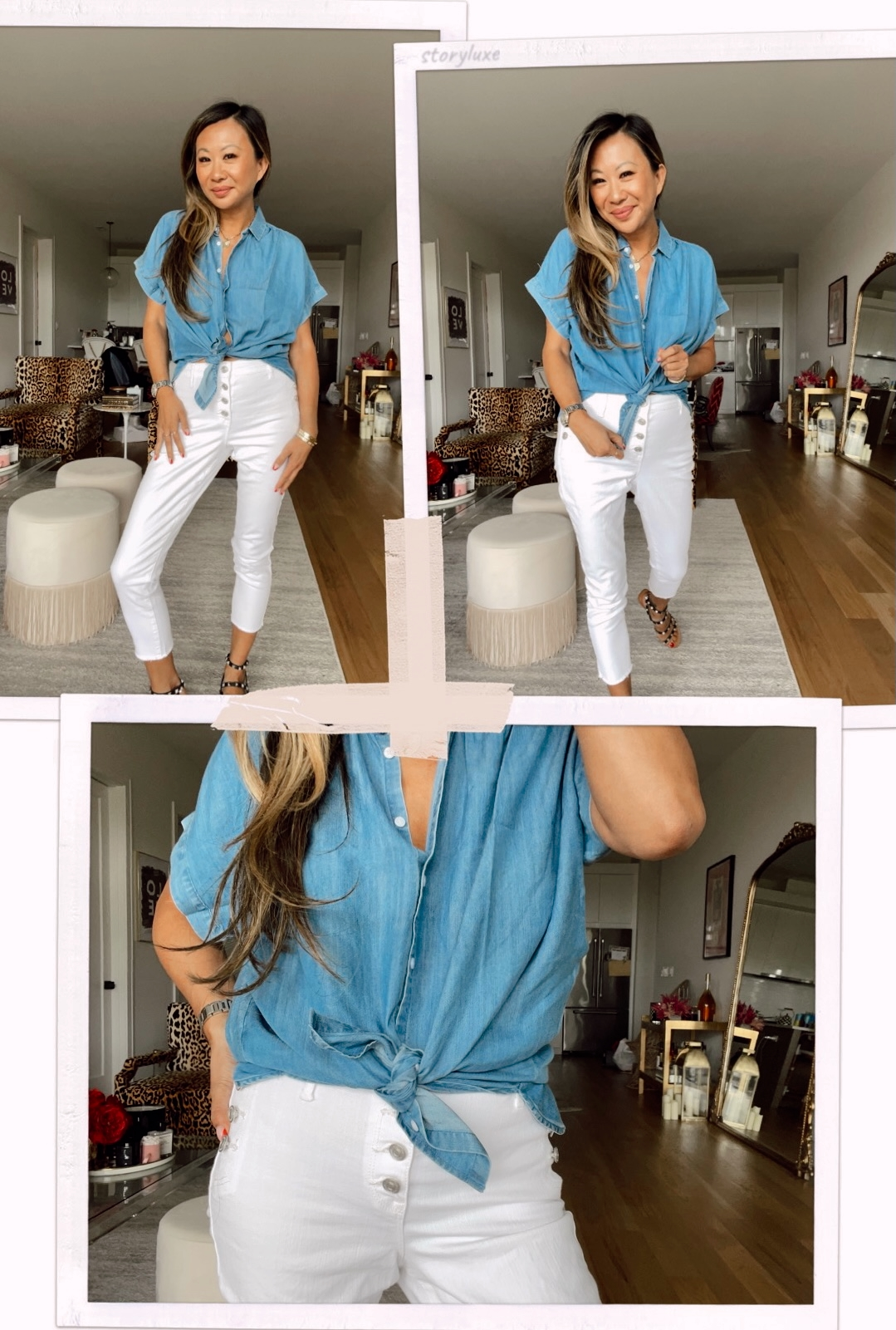 Time and Tru Women's Short Sleeve Button Front Shirt, Sofia Jeans by Sofia Vergara Women's Rosa High-Rise Curvy Sailor Crop Jeans, chambray shirt outfit ideas, white denim outfit ideas, white jeans outfit, denim shirt outfit, walmart style, walmart outfit ideas, summer outfits, summer outfit ideas