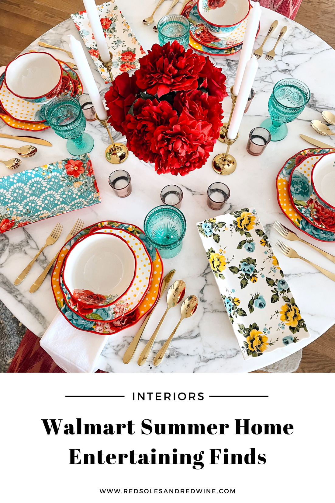 Summer Home Entertaining Finds from Walmart, summer party table setting, vibrant tablescape, Summer table decor, Summer dinner party ideas, affordable vibrant table top ideas, summer tabletop ideas, Walmart home decor, tropical decor ideas, tropical party ideas, girly party decor, gold flatware, gold accent table top ideas, Pioneer women dinnerware set, gold flatware, gold accent table top ideas
