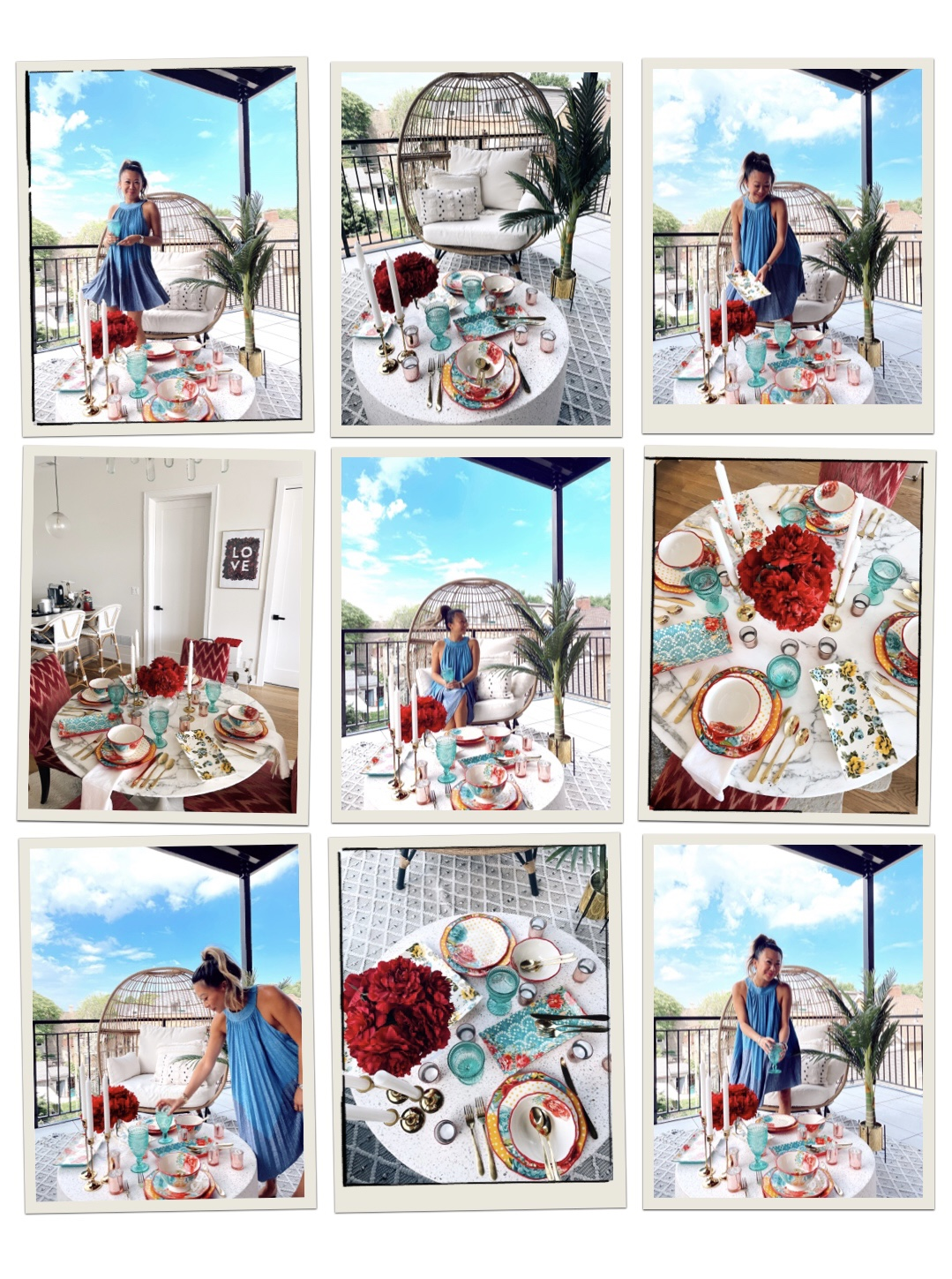 Summer Patio Home Entertaining Finds from Walmart, outdoor party table setting, vibrant tablscape, Summer table decor, Summer dinner party ideas, patio table settings, outdoor table settings, red white and blue party decor, affordable vibrant tabletop ideas, summer tabletop ideas, egg chair styling, Walmart home decor patios, Walmart patio finds, outdoor entertaining, indoor entertaining