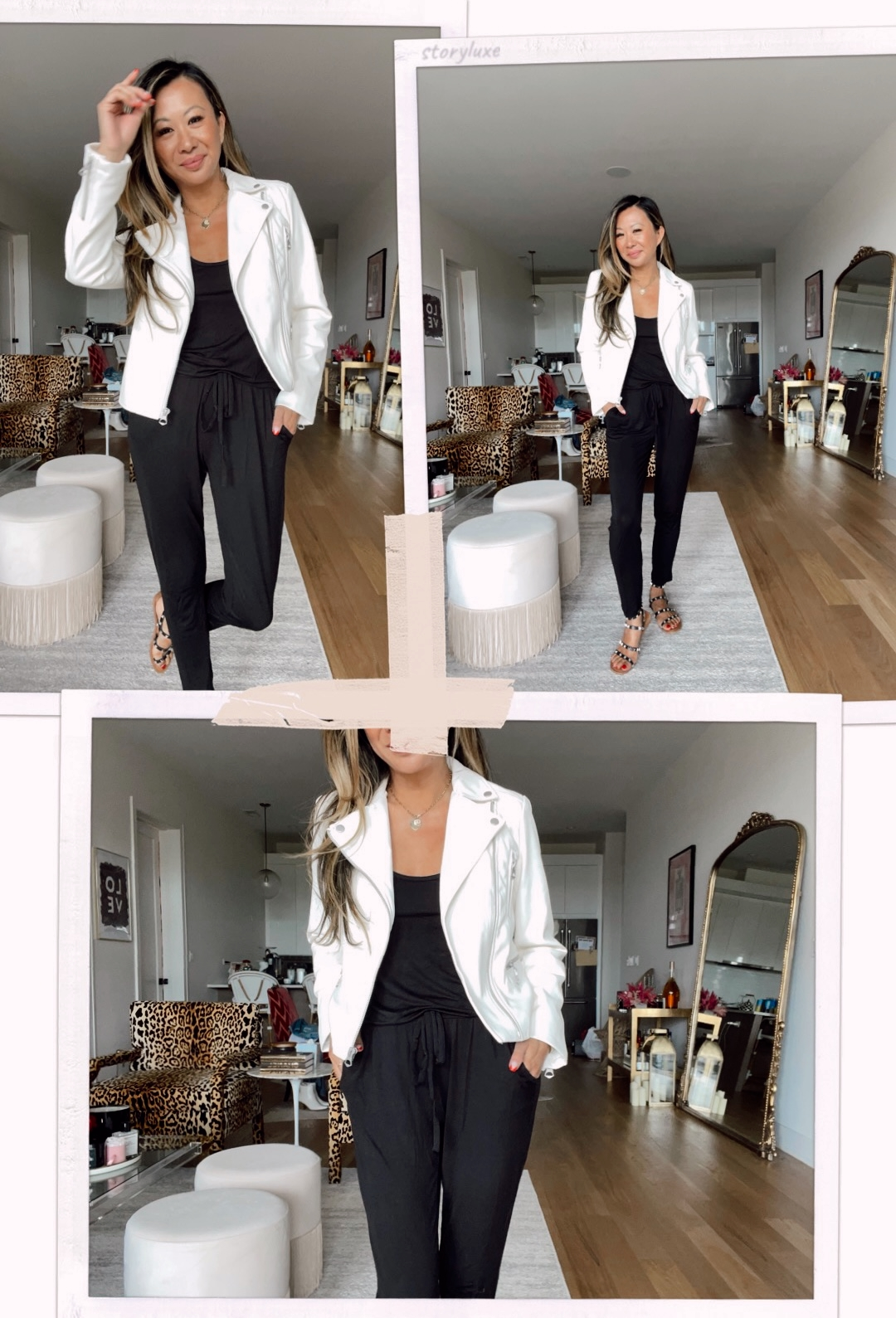 white moto jacket and jumpsuit outfit ideas from Walmart, moto jacket with jumpsuit, jumpsuit outfit ideas, how to style a jumpsuit, women's style, walmart style, walmart outfit ideas, affordable outfit ideas